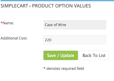 SimpleCart eCommerce Product Option Pricing