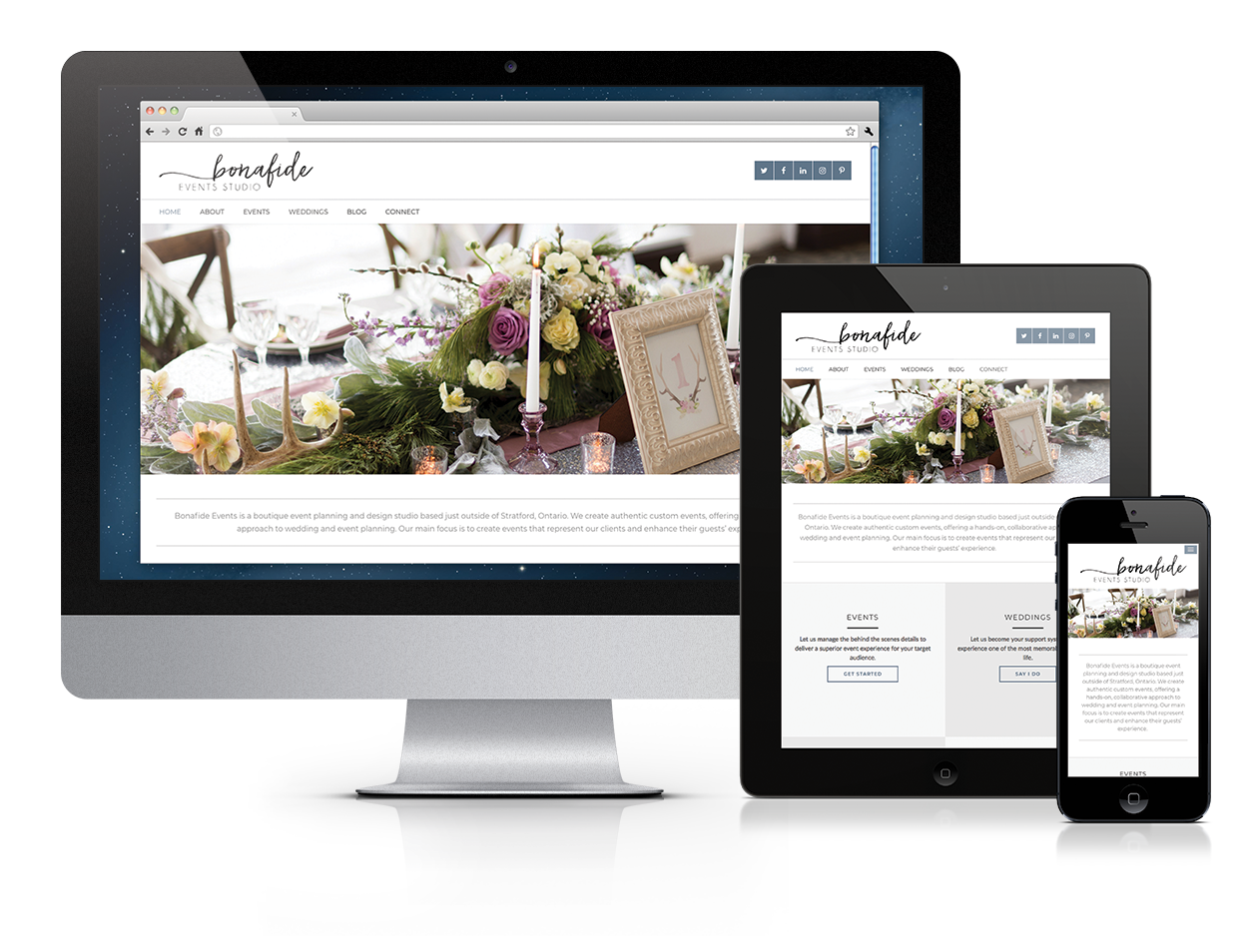 Bonafide Events Studio, Smarter Website Design, Niagara