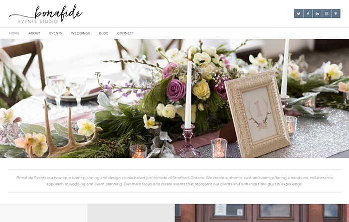 Bonafide Events Studio Website Design