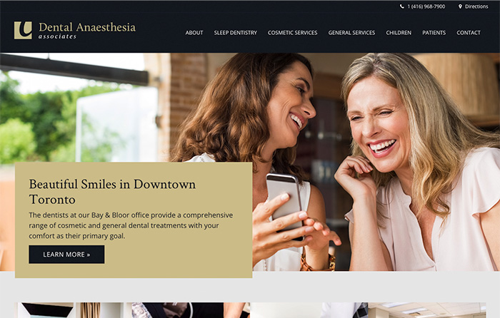 Dental Anaesthesia Associates, Turn-Key Website Design, CMSIntelligence inc.