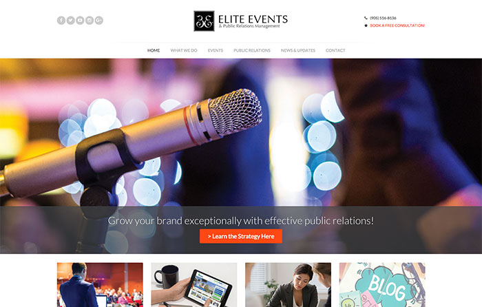 Elite Events Responsive Website, Niagara