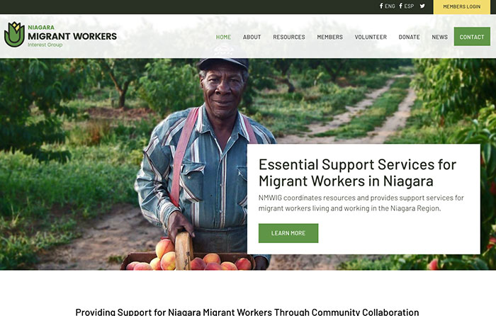 Niagara Migrant Workers Interest Group, Turn-Key Website Design, CMSIntelligence inc.