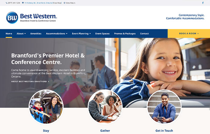 Best Western Brantford, Turn-Key Website Design, CMSIntelligence inc.