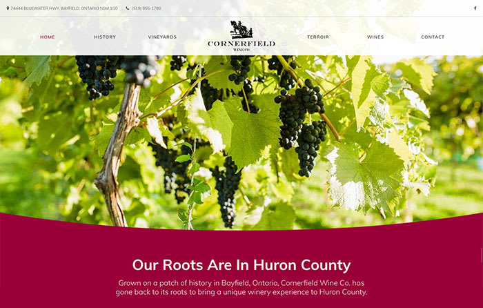 Cornerfield Wine Co., Turn-Key Website Design, CMSIntelligence inc.