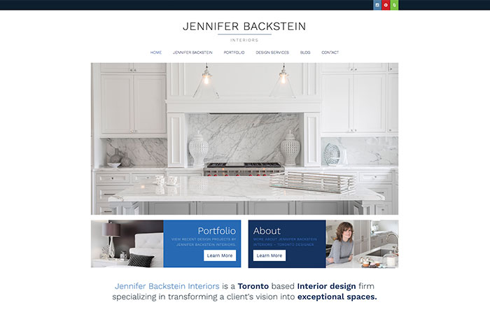 Jennifer Backstein Interiors Turn-Key Website Design, CMSIntelligence inc.