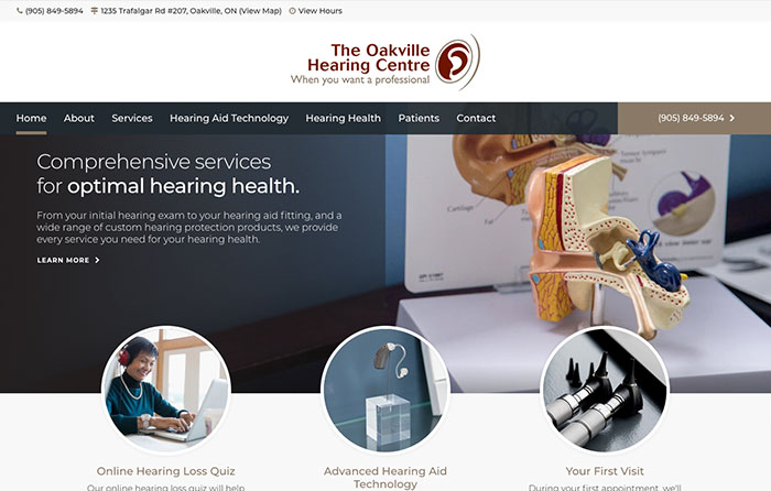 Oakville Hearing Centre, Turn-Key Website Design, CMSIntelligence inc.