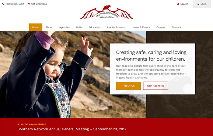 Southern First Nations Network of Care | Smarter Website Design
