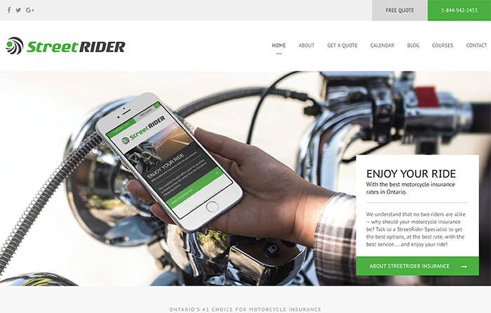Street Rider, Youngs Insurance, Website Design by CMSIntelligence