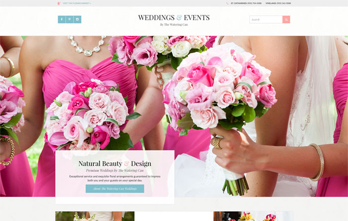 The Watering Can Weddings Website Design